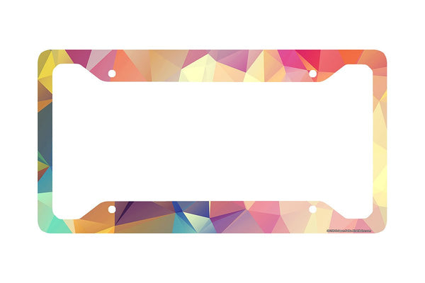 Airstrike® Geometric License Plate Frame, Colored Triangles  Car Tag Frame, Geometric License Plate Holder, Cute License Plate Frame-30-720