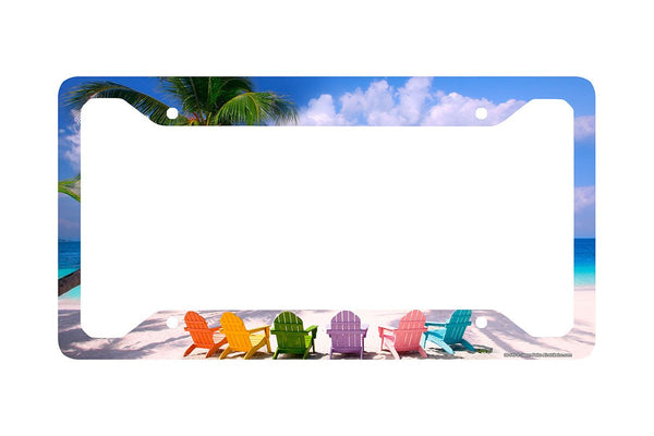 "Airstrike® Beach License Plate Frame, Beach License Plate Holder, Beach Car Tag Frame ""Beach Chairs""-30-543"