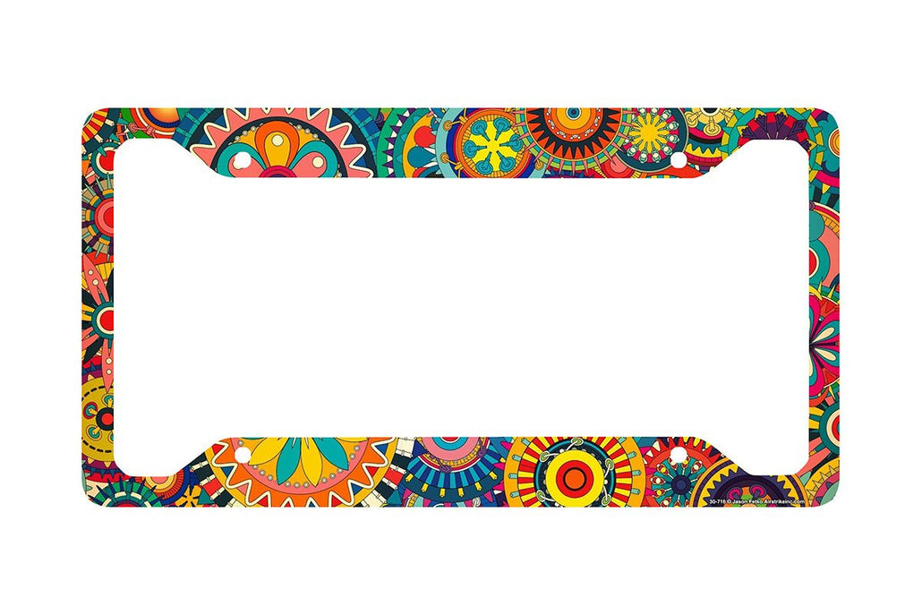 Airstrike® Retro Flower License Plate Frame, Floral Pattern Car Tag Frame, Gears License Plate Holder, Cute License Plate Frame-30-716