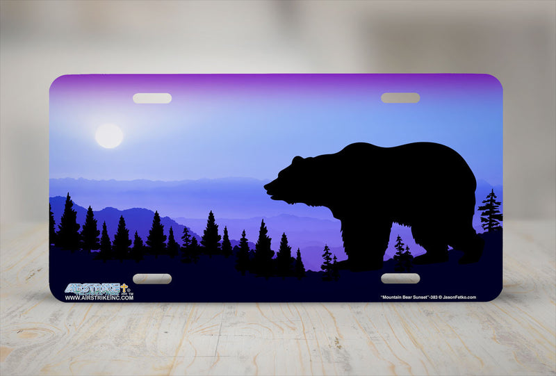 "Airstrike® 383-""Mountain Bear Sunset"" Bear License Plate"