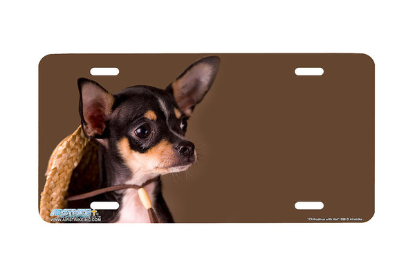 "Airstrike® 288-""Chihuahua with Hat"" Chihuahua Dog License Plates"