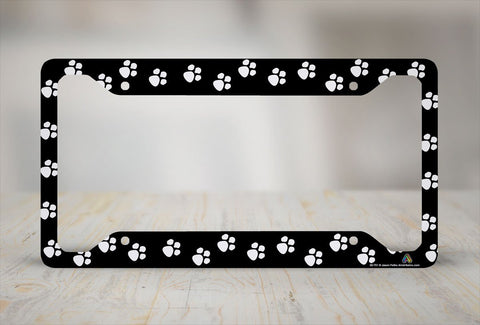 Airstrike® Paw Prints on Black License Plate Frame, Cat Car Tag Frame, Dog License Plate Holder, Animal Paw Prints License Plate Frame-30-751
