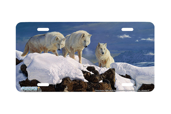 "Airstrike® Wolf License Plate 8289-""Arctic Alliance""-White Wolves License Plate"