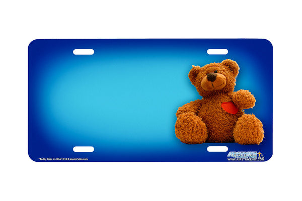 "Airstrike® 315-""Teddy Bear on Blue"" Teddy Bear Airbrushed License Plates"