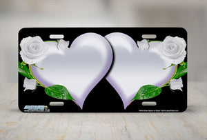 "Airstrike® 336-""White Rose Hearts on Black"" Heart Airbrushed License Plates"