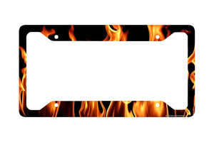 "Airstrike® Fire License Plate Frame, Fire License Plate Holder, Fire Car Tag Frame ""Real Flames""-30-376"