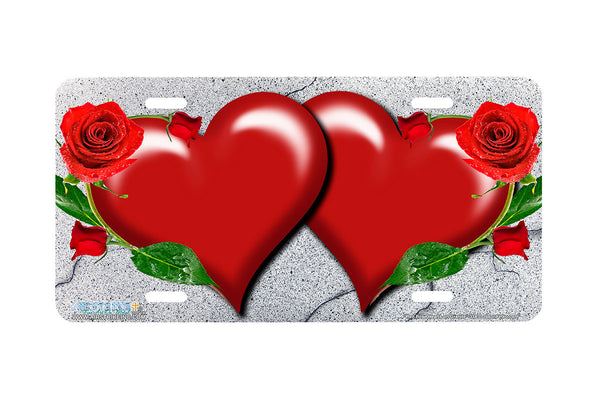 "Airstrike® 338-""Red Rose Hearts on Granite"" Heart Airbrushed License Plates"