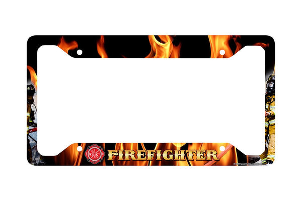Airstrike® Firefighter License Plate Frame, Firefighter Car Tag Frame, Firefighter License Plate Holder, Fireman Decorative License Plate Frame-30-265