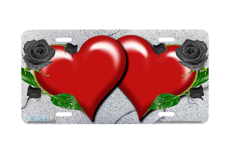 "Airstrike® 337-""Black Rose Hearts on Granite"" Heart Airbrushed License Plates"