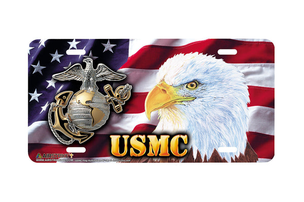 "Airstrike® Marine Corps License Plate Marine License Plate ""USMC Flag Illuminations II""-281"