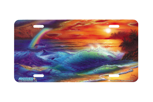 "Airstrike® Beach License Plate 225-""Ocean Spectrum"" Beach Scene License Plate"