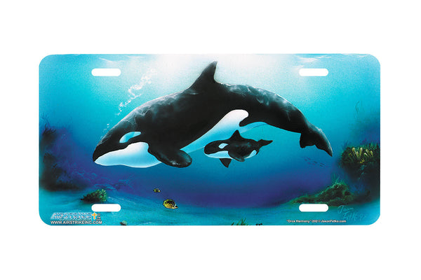 "Airstrike® Whale License Plate 202-""Orca Harmony"" License Plate"