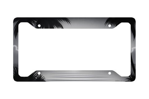 Airstrike® Beach License Plate Frame, Beach Car Tag Frame, Beach License Plate Holder, Ocean Palm Trees Beach License Plate Frame-30-312