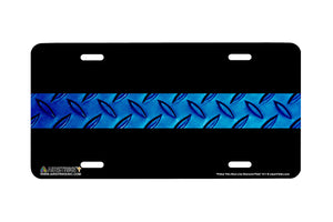 "Airstrike® 511-""Police Thin Blue Line Diamond Plate"" Policeman License Plate"