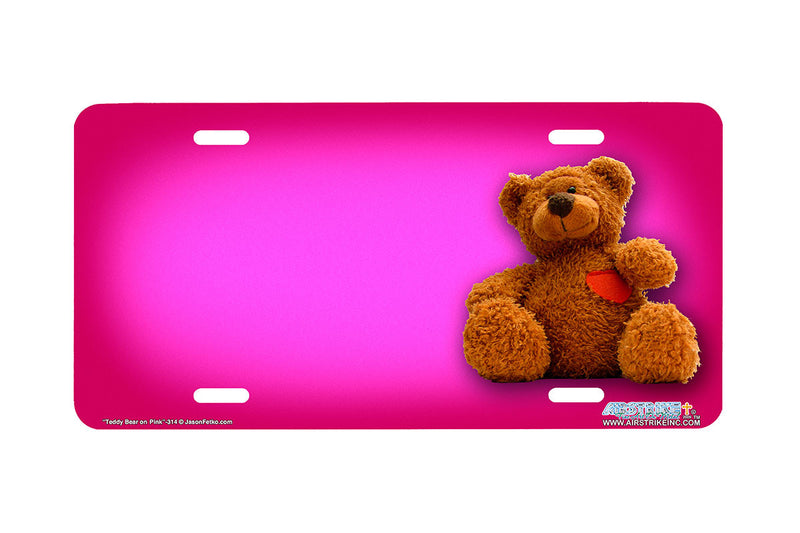 "Airstrike® 314-""Teddy Bear on Pink"" Teddy Bear Airbrushed License Plates"