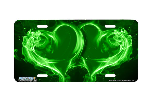 "Airstrike® 429-""Green Hearts on Fire"" Heart Airbrushed License Plates"