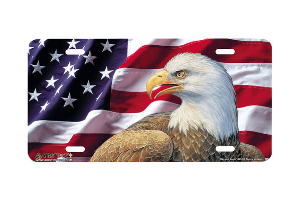 "Airstrike® 3433-""Flag and Eagle""-Patriotic License Plate"