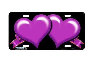 "Airstrike® 345-""Purple Ribbon Hearts on Black"" Heart Airbrushed License Plates"