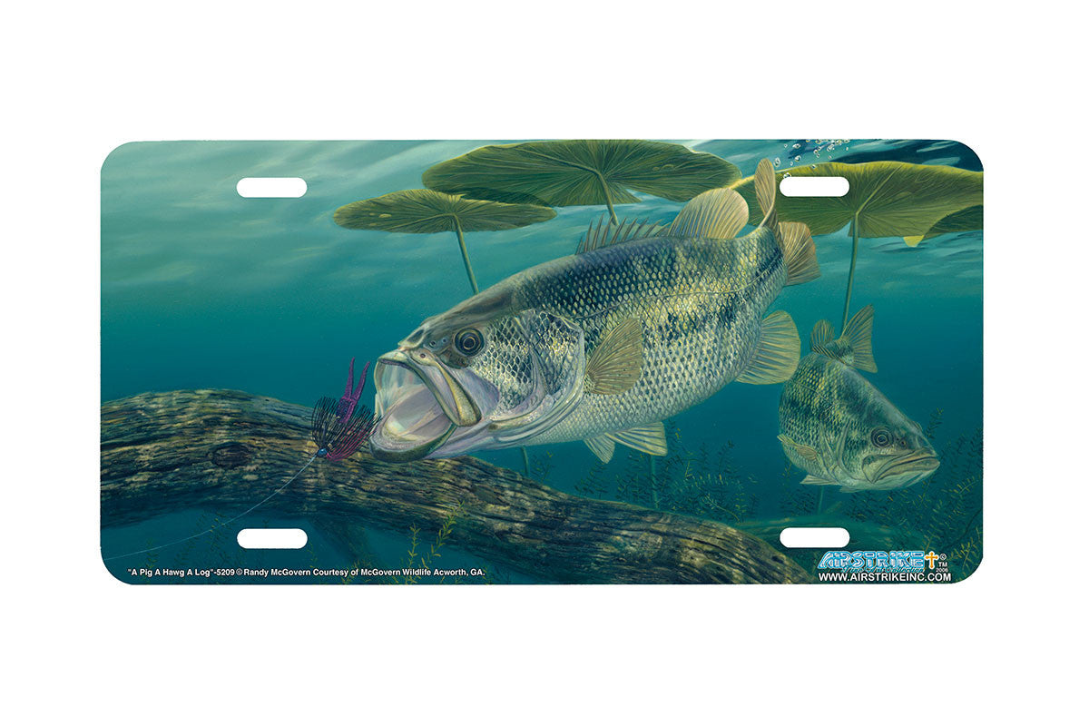 Airstrike bass fishing license plates 5209 a pig for Bass pro shop fishing license
