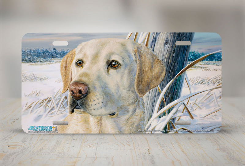 "Airstrike® 5325-""Frozen Moment"" Yellow Labrador Retriever Dog License Plate"