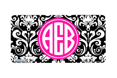 "Monogrammed License Plates Monogram License Plate Monogrammed Car Tags ""Damask Monogram Pink""-662"