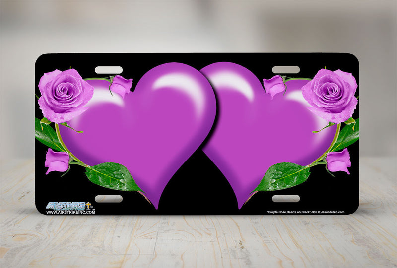 "Airstrike® 335-""Purple Rose Hearts on Black"" Heart Airbrushed License Plates"