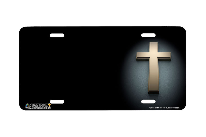 "Airstrike® Cross License Plate 530-""Cross on Black"" Christian License Plate"