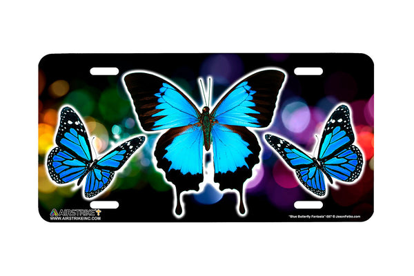 "Airstrike® Butterfly License Plate 587-""Blue Butterfly Fantasia"" Butterflies License Plate"