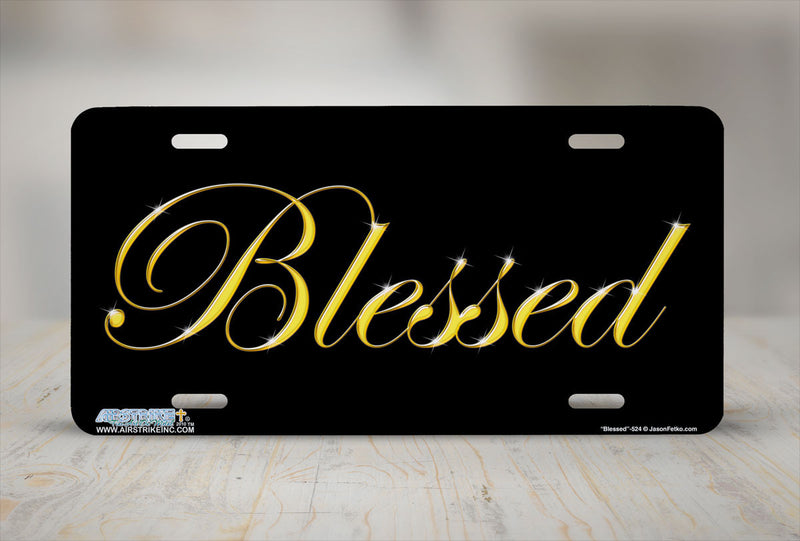 "Airstrike® Blessed License Plate 524-""Blessed""-Christian License Plate"