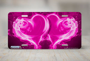 "Airstrike® 427-""Pink Hearts on Fire"" Heart Airbrushed License Plates"
