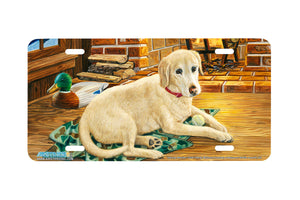 "Airstrike® 5328-""Gaining Affection"" Yellow Labrador Retiever Dog License Plate"