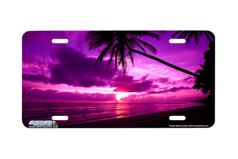 "Airstrike® Beach License Plate 583-""Purple Beach Sunset"" Beach Scene License Plate"
