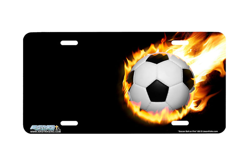 "Airstrike® 392-""Soccer Ball on Fire"" Soccer Ball License Plates"
