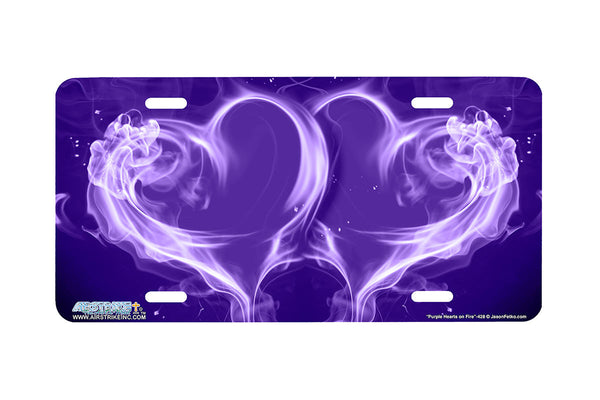"Airstrike® 428-""Purple Hearts on Fire"" Heart Airbrushed License Plates"