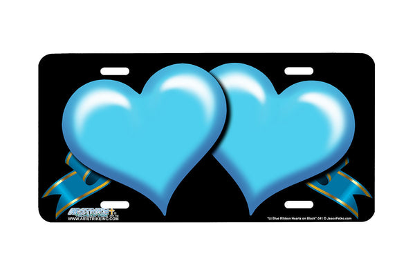 "Airstrike® 342-""Light Blue Ribbon Hearts on Black"" Heart Airbrushed License Plates"
