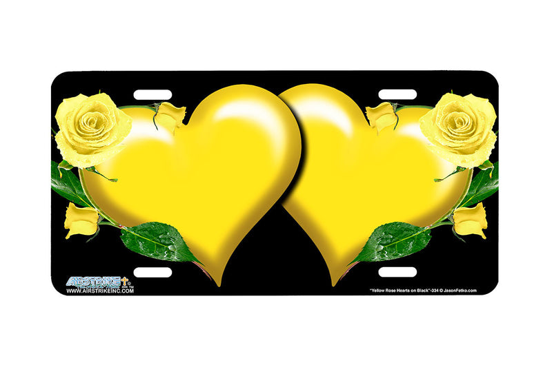 "Airstrike® 334-""Yellow Rose Hearts on Black"" Heart Airbrushed License Plates"