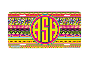 "Monogrammed License Plates Monogram License Plate Monogrammed Car Tags ""Aztec Tribal Yellow""-664"