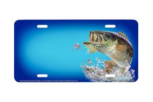 "Airstrike® Bass Fishing License Plates 5419-""Buzz Off""-Offset Blue Bass License Plate"