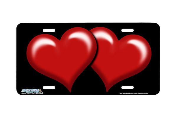 "Airstrike® 329-""Red Hearts on Black"" Heart Airbrushed License Plates"