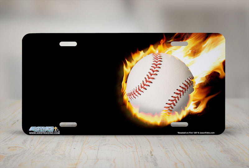 "Airstrike® 397-""Baseball on Fire"" Baseball License Plates"