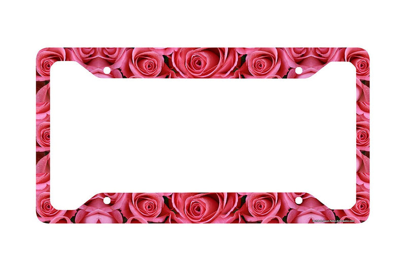 Airstrike® Pink Roses License Plate Frame, Roses Car Tag Frame, Pink Rose License Plate Holder, Cute License Plate Frame-30-728