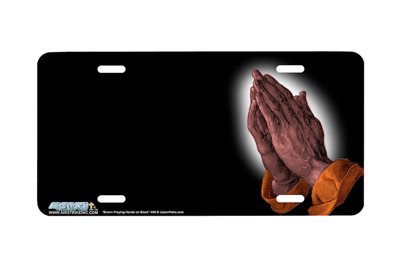 "Airstrike® Christian License Plate 496-""Brown Praying Hands""-Christian License Plates"