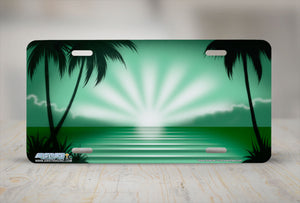 "Airstrike® Beach License Plate 313-""Green Sunburst"" Beach Scene Airbrushed License Plate"