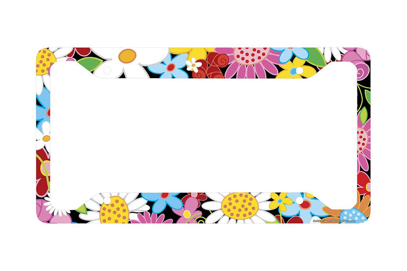 "Airstrike® Flower License Plate Frame, Flower License Plate Holder, Flower Car Tag Frame ""Flower Power""-30-372"