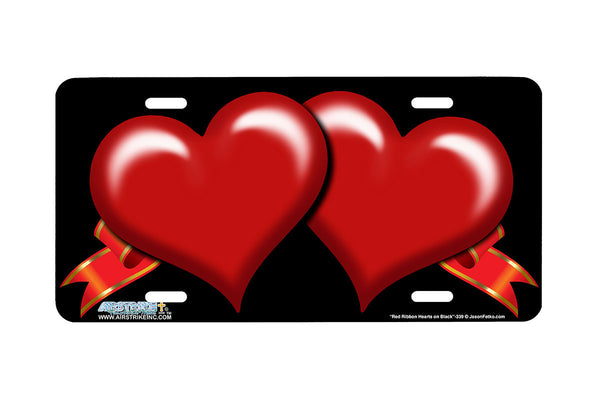 "Airstrike® 339-""Red Ribbon Hearts on Black"" Heart Airbrushed License Plates"