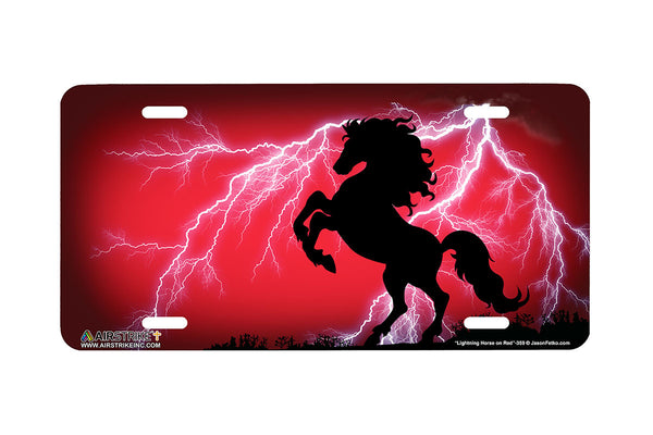 "Airstrike® 359-""Lightning Horse on Red"" Rearing Horse Airbrushed License Plates"