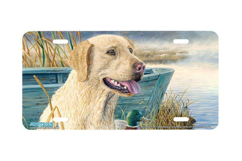 "Airstrike® 5327-""Wet N Wild"" Yellow Labrador Retiever Dog License Plate"