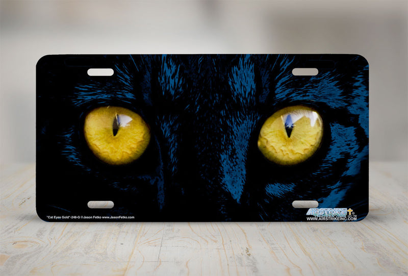 "Airstrike® 248-""Gold Cat Eyes"" Cat Eyes Gold License Plate"