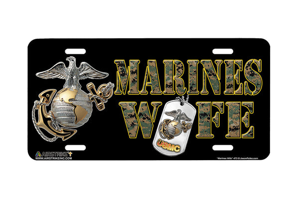 "Airstrike® Marine Corps License Plate Marine License Plate ""Marines Wife""-473"