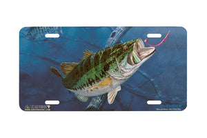 "Airstrike® Bass Fishing License Plates 5011-""Bass and Worm"" License Plate"